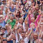 Sports fans waving